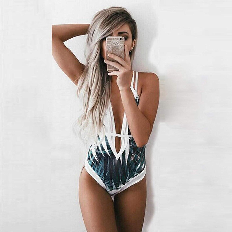 Women One-Piece Swimsuit Bohemia Printed Beach Monokini Swimwear V-Neck Open Back Tankini Tummy Control Halter Bikini