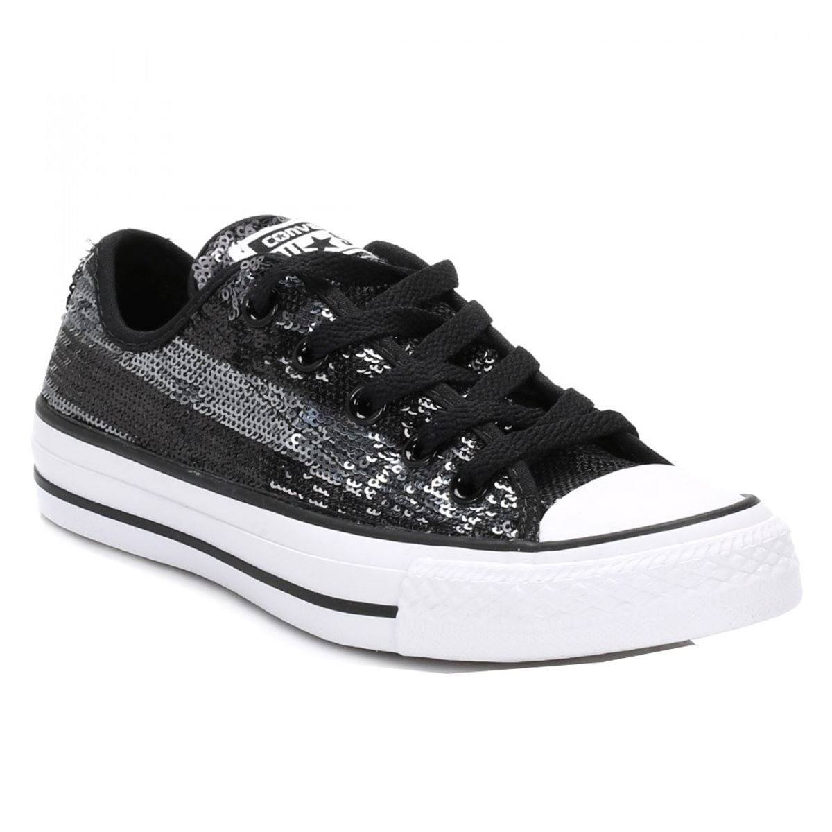 Converse Chuck Taylor All Star Lo Top Black/Silver Womens 6
