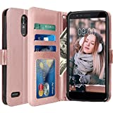 LG Stylo 3 Case, LG Stylo 3 Plus Case, LK Luxury PU Leather Wallet Flip Protective Case Cover with Card Slots and Stand for LG Stylo 3 / LG Stylo 3 Plus (Rose Gold)