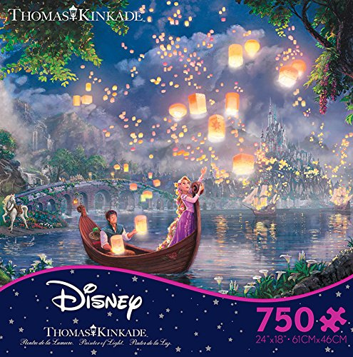 Thomas Kinkade Disney Dreams - Tangled 750 Piece Jigsaw Puzzle 24 x 18in
