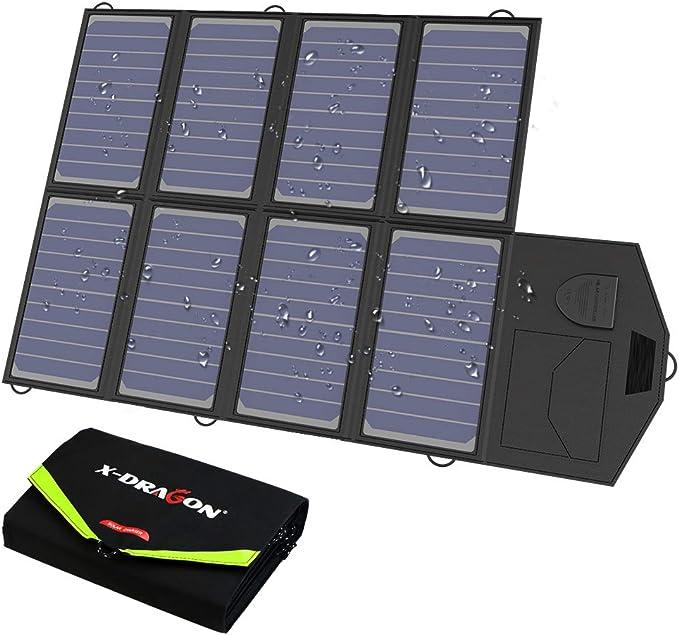 X-DRAGON Chargeur Solaire 40W (5V USB + 18V DC) Ordinateur Portable SunPower Chargeur pour Ordinateur Portable, Notebooks, Tablettes,Smartphones ...