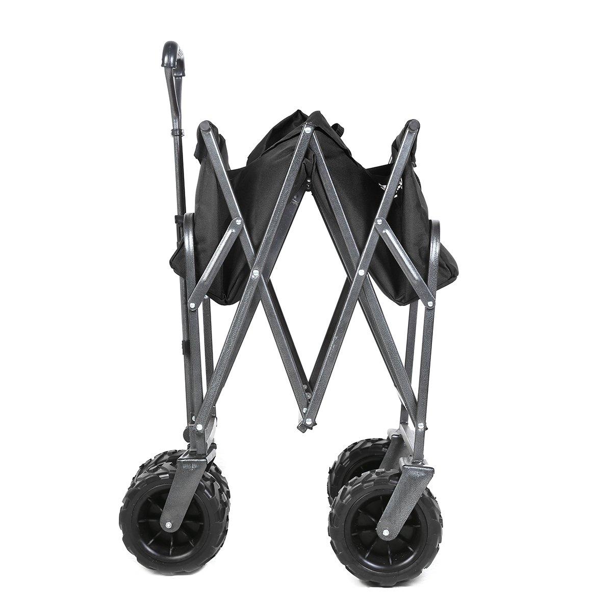 265 Pound Capacity Sekey Folding Wagon Cart Collapsible Outdoor Utility Wagon Heavy Duty Beach Wagon with All-Terrain Wheels Black