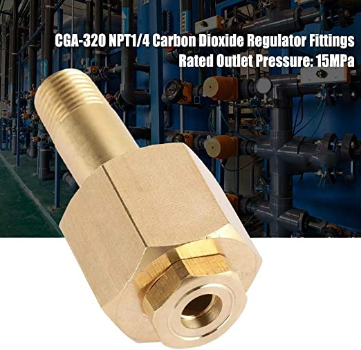 Carbon Dioxide Regulator,CGA-320,Inlet Nut and Nipple with Washer,Brass,Fasten The Valve of The CO2 Regulator Tightly