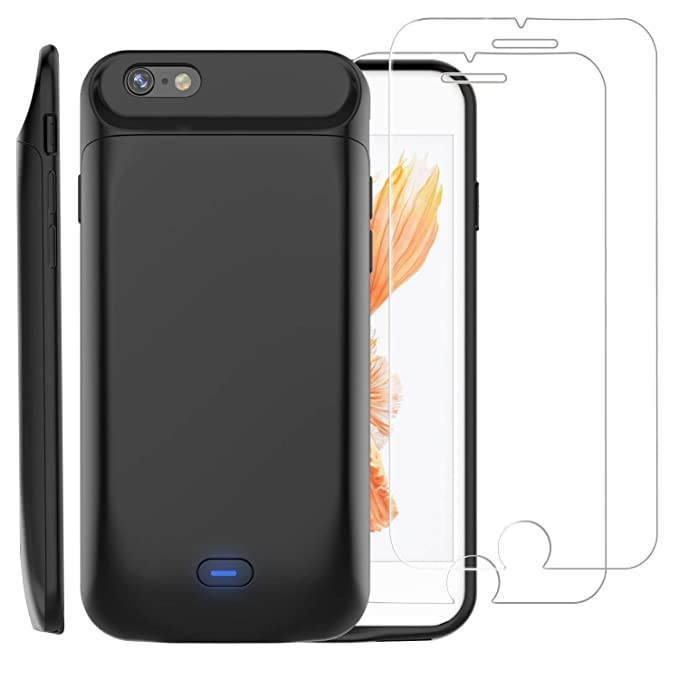 sports shoes 70a1e aed11 PEYOU Compatible for iPhone 6/6S Battery Case + 2 Tempered Glass Screen  Protector, 5000mAh Slim Rechargeable Extended Backup Pack Charger TPU ...