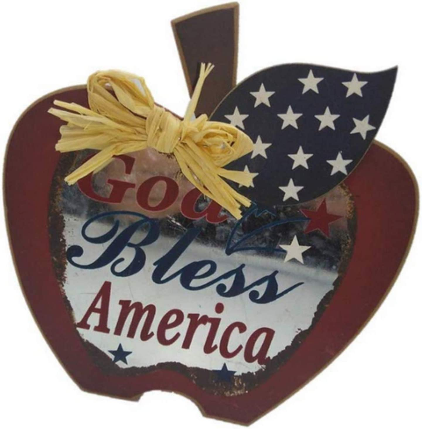 TopNotch Outlet Patriotic Decorations - Americana Decor - God Bless America and Apple Pie - Heavy Duty Apple Sign with Red White Blue Stars - Home Decor - Wooden Signs