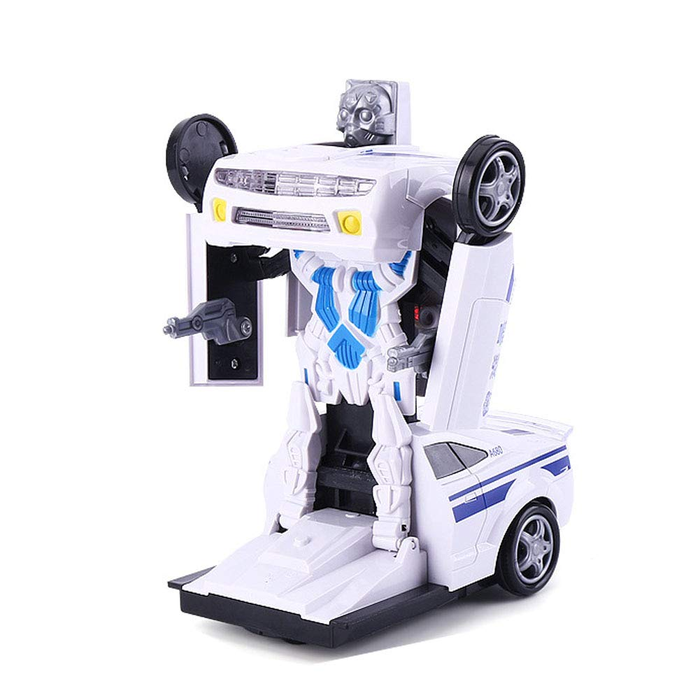 Deformation Police Car, Children\'s Car Robot Model Deformed Car Toy, Music Flash Car Model Children' s Car Robot Model Deformed Car Toy Hiistaring