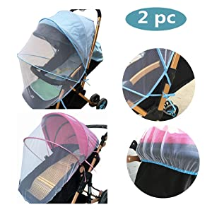 XBYEE 2pc Baby Mosquito Net for Stroller, Car Seat & Bassinet Premium, Ultra Fine Mesh Protection - Insect Net Cover Buggy Covers for Cradles Portable Infant Insect Netting