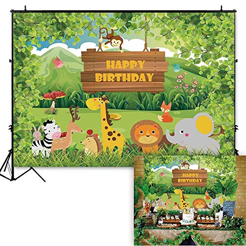 Funnytree 7x5ft Safari Jungle Theme Birthday Party Backdrop Forest Animals Wild One Photography Background Cartoon Wildlife Newborn Baby Boy Cake Table Decoration Photobooth Studio Props -