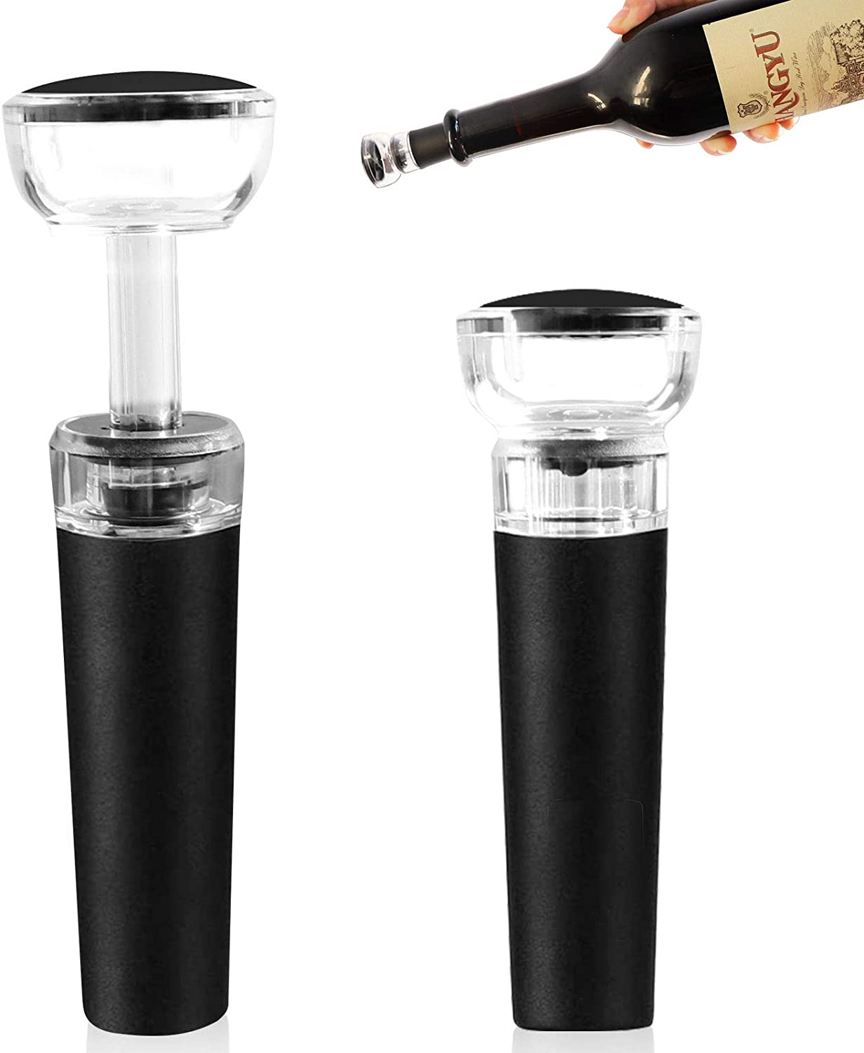 Reusable Wine Stoppers 2 Pcs Letrushare Wine Saver Stopper with Vacuum Pump Food Grade Silicone Sealed Black Leaktight Bottle Outlet Caps for Red Wine Bottle Cork Cap Replacement and Beverage Bottles
