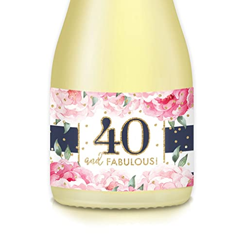 40th happy birthday female party idea mini champagne wine labels forty fabulous set