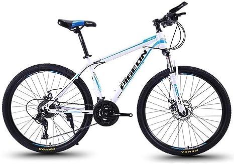 JLASD Bicicleta Montaña MTB/Bicicletas, Marco 27 Velocidad De Acero Al Carbono, Suspensión Delantera De Doble Freno De Disco, Ruedas De Radios De 26 Pulgadas (Color : White): Amazon.es: Deportes y aire libre
