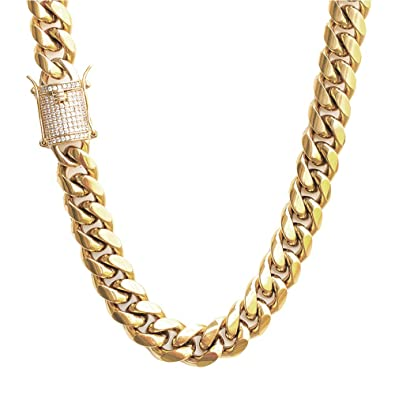 75008ad8378 TRIPOD JEWELRY 14K Gold Plated Solid Miami Cuban Link Chain Bracelet-  Stainless Steel Simulated Diamond Clasp- 8mm