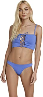 product image for Dippin' Daisy's Seamless Criss-Cross Adjustable Straps Lace Up Cleavage Bandeau Bikini Top Bathing Swimsuit