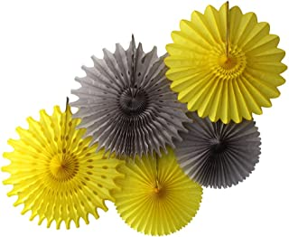 product image for Devra Party 5-Piece Tissue Paper Fans, Sun Storm Yellow Gray