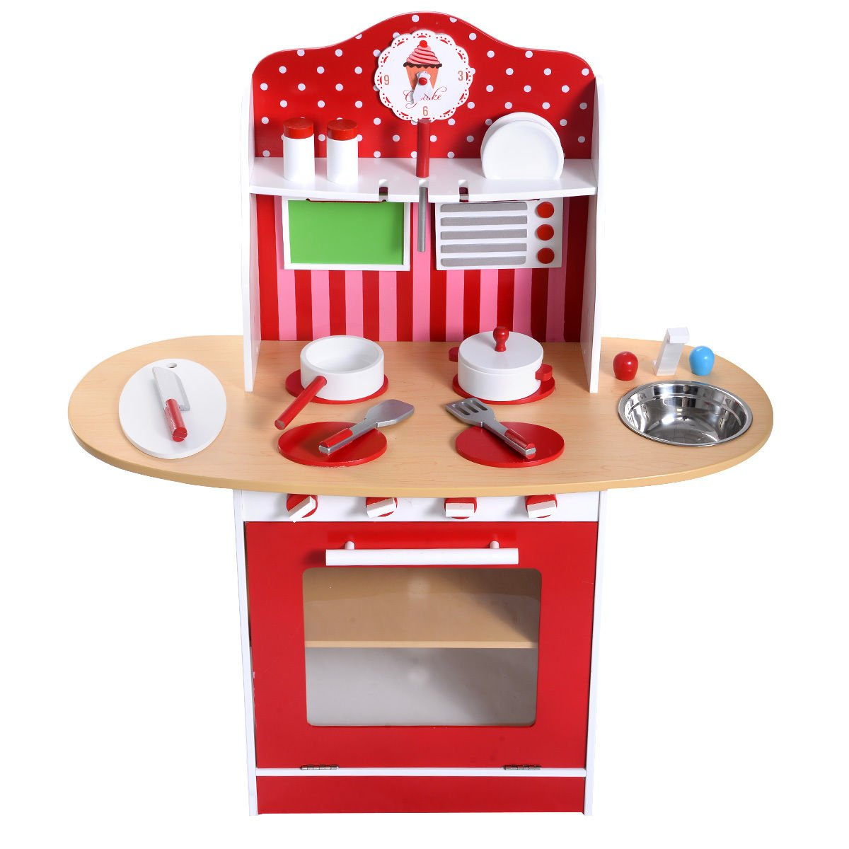 Lapha' Bar Shop Kids Toy Chef Cooking Set Kiosk Wood Kitchen Toy Child Girls Cooking Play Set Toddler Wooden Playset Gift Cookware Utensils New Pans Pots Toys Dishes