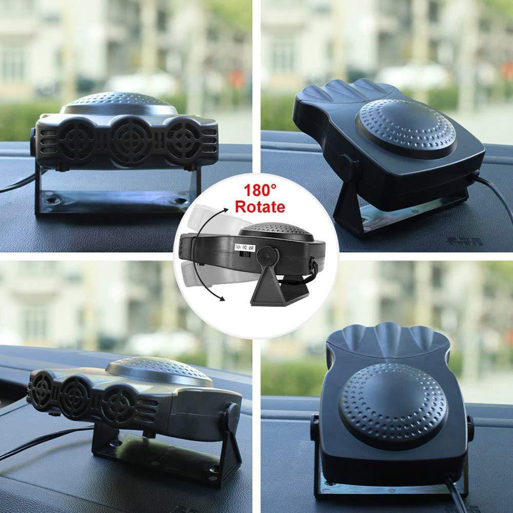 2 In 1 Heat Cooling Fan Silence Shopping 12V Auto Electronic Heater Fan Fast Heating Defrost 150W Cooling Car Space /& Fast Heating Space Automobile Windscreen Fan Portable Car Heater