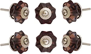Set of 6 Glass Melon Crystal Glass Knobs Kitchen Cabinet Cupboard Glass Door Dressser Wardrobe and Drawers Pull by Perilla Home(Big) 0.372kg