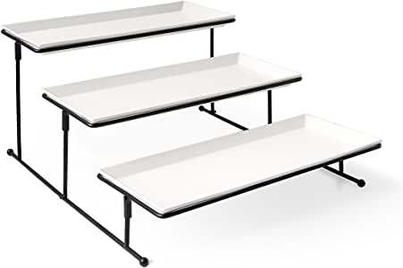 Sweese 730.101 3 Tiered Serving Stand - Sturdier Food Server Display Rack with Rectangular Porcelain Platters, Serving Trays for Parties