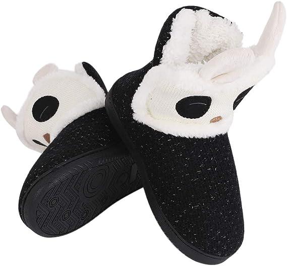 IPENNY Chausson Pantoufles Peluche Femmes Licorne Fille Hiver Chaussures Coton Chaud Velours Chambre Maison Animal/Plate/Garder au Chaud Bottes de Neige Automne/Noir avec Semelles en Caoutchou Tricot