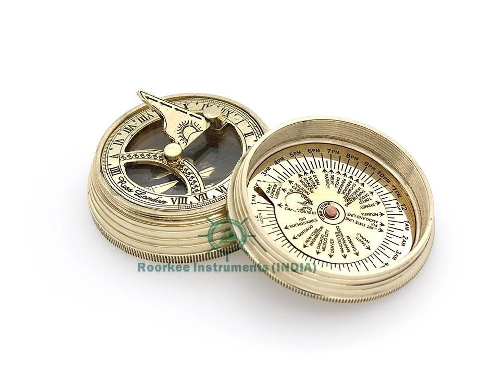 Roorkee Instruments India Pocket sundial compass ROSS LONDON/Unique Gift/Directional Magnetic Compass for Navigation/Pocket Compass for Camping, Hiking, Touring by Roorkee Instruments India (Image #1)