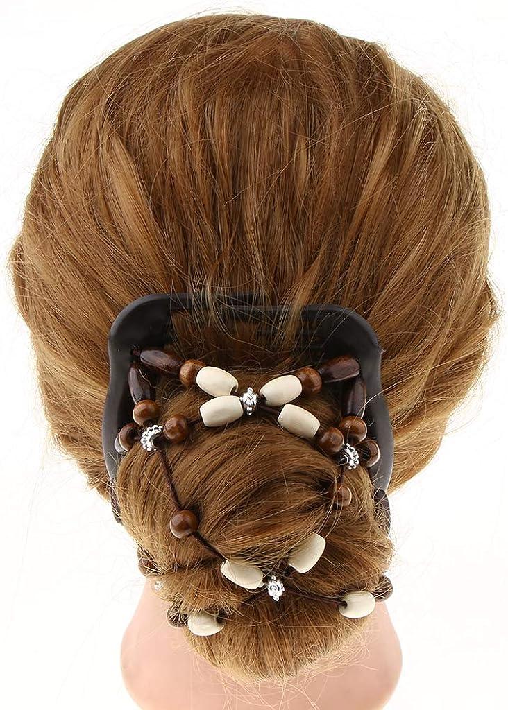 P Prettyia 2pcs Peignes /à Cheveux Doubles avec Perles en Bois Extensibles Cadeau F/ête des M/ères