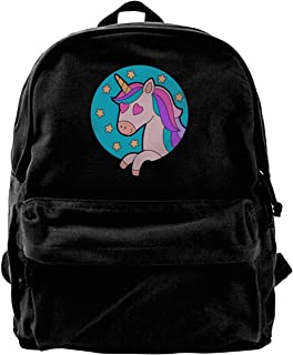 fregrthtg Unisex Love Unicorn Casual Style Lightweight Canvas Backpack School Bag Travel Daypack Rucksack 184VUI5V2ES7A6IEXI36