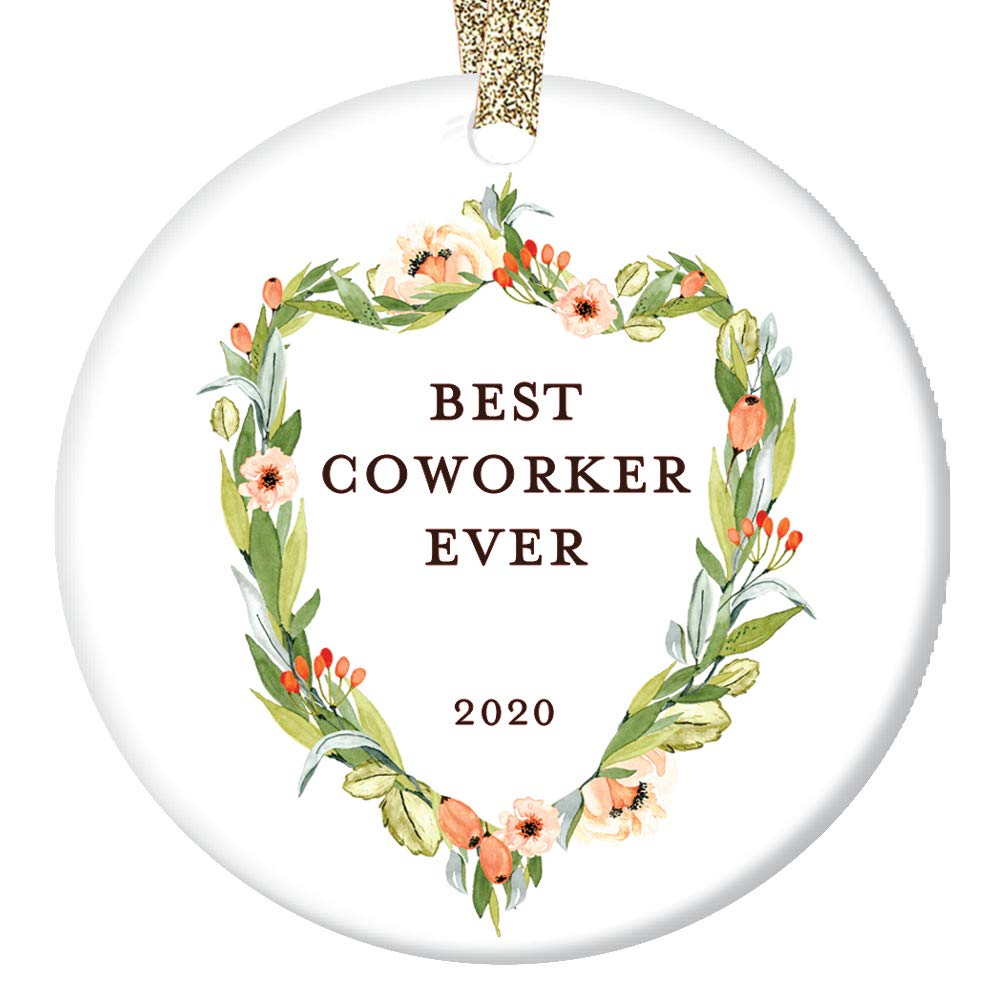 Crest Open On Christmas 2020 Amazon.com: Coworker Gifts, Best Coworker Ornament, Floral Crest
