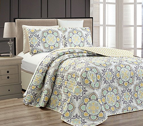 Mk Collection 3pc King Oversize Reversible Quilted Bedspread Set Floral Yellow White Gray Light Green New (Collection White Green)