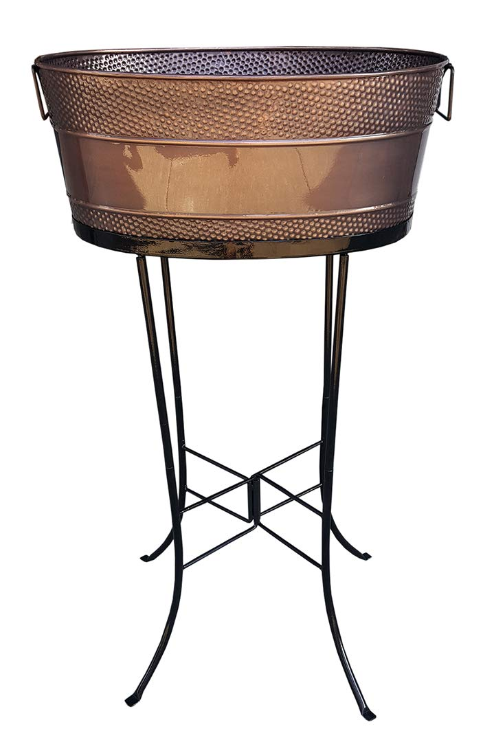 BREKX Copper Finish Aspen Hammered Galvanized Beverage Tub with Stand - 25 Quart by BREKX