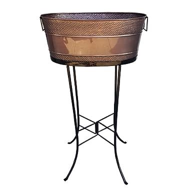 BREKX Aspen Copper Finish Hammered Galvanized Beverage Tub w/Iron Stand - 25 Quart