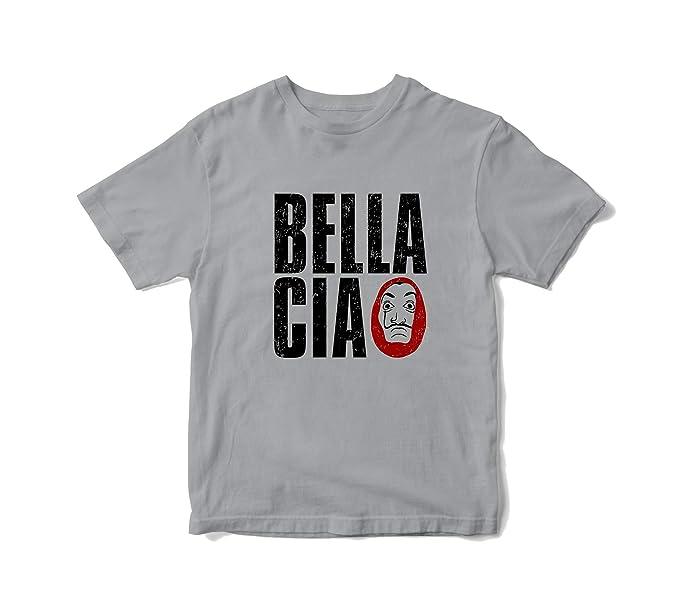 JEMASHOP Camiseta Hombre Gris LA CASA DE Papel Bella Ciao 2 (XS-XXL)
