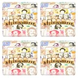 Luxlady Natural Rubber Square Coasters IMAGE ID: 25854045 closeup history wording stack on banknotes world currency business and education concept and idea