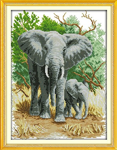 (Joy Sunday Cross Stitch kits, The elephant mother and son (1) ,14CT Counted, 34cm×44cm or 13.26