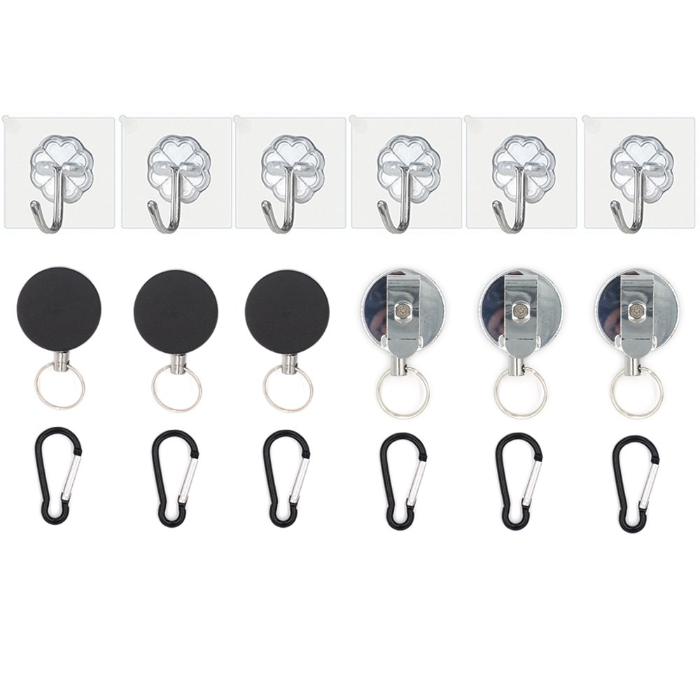 FoRapid 6-Pack Retractable Cable Management System for HTC VIVE/Oculus/Sony PlayStation or Other Wired VR Virtual Reality Headset No More Cable Worries - Adhesive Easy drill free installation
