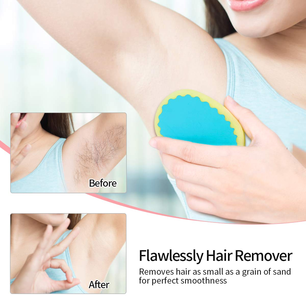 Facial Hair Removal for Women,TOPOINT Flawless Painless Hair Remover  Depilation Sponge Pads for