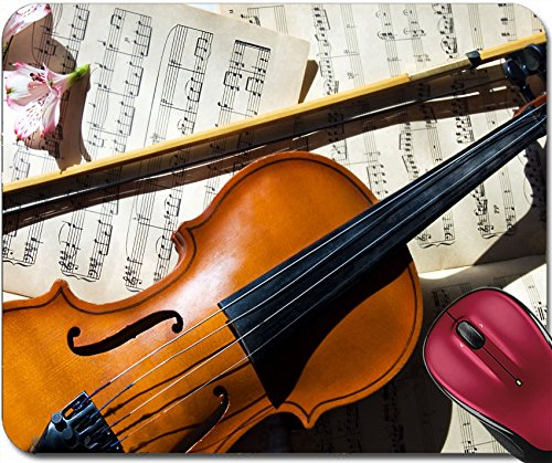 Liili Mousepad Old violin fiddle stick and music sheet over white Photo 4827062 (Fiddle Pattern Silver)