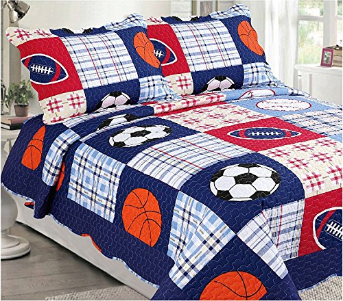 MK Home Collection Bedspread Set Boys Sport Football Basketball Baseball Dark Blue (Twin)