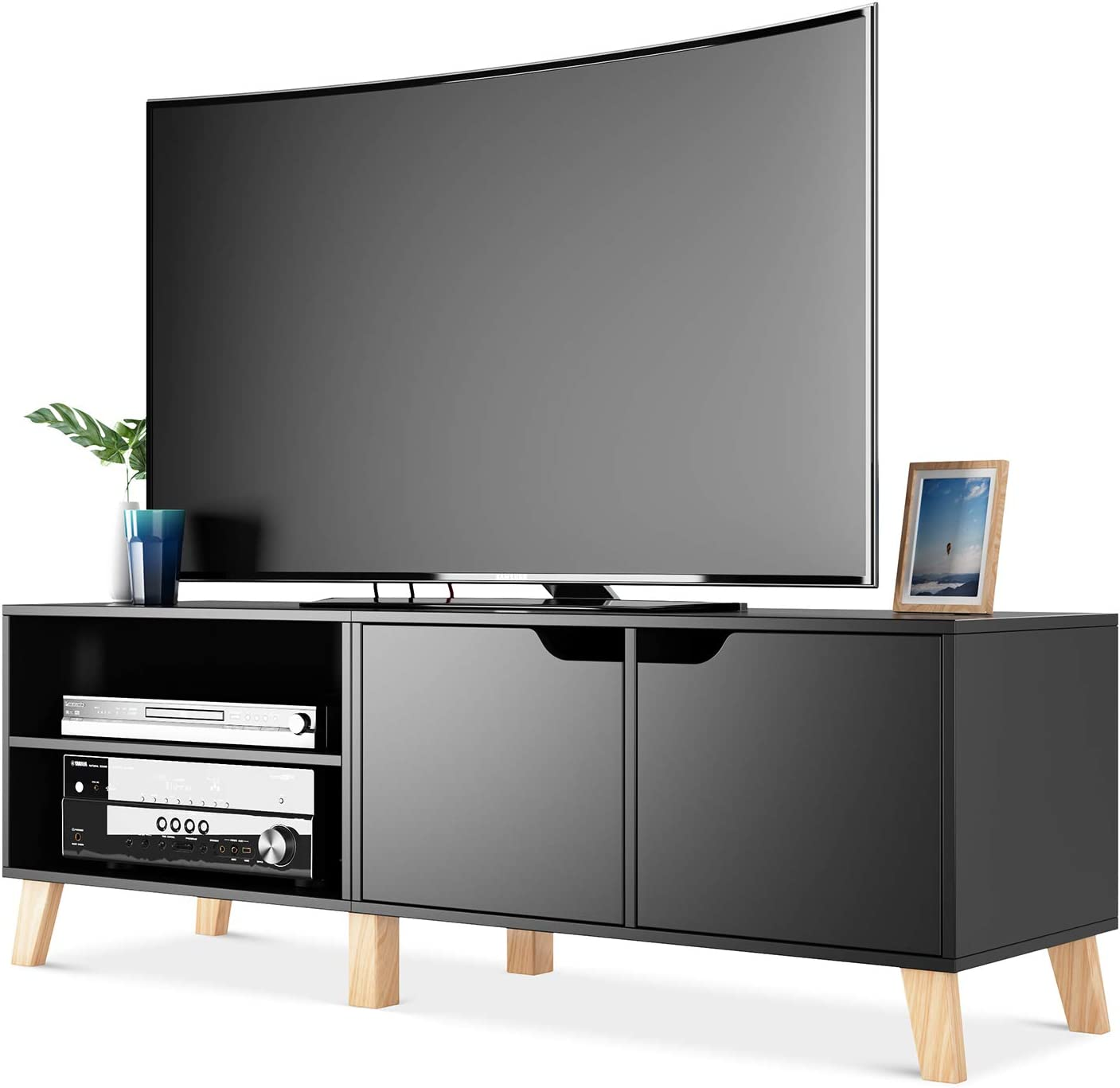 Homfa 55 In Tv Stand With 2 Doors And Shelves Modern Console Entertainment Center Media Console Storage Cabinet For Living Room Home Black Furniture Decor