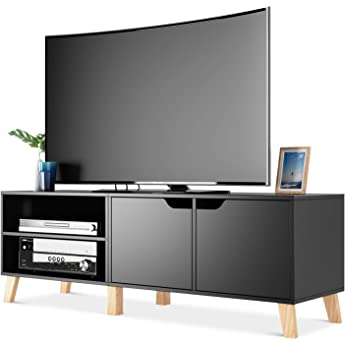 Homfa Mueble TV Salón Mesa para TV con 2 Puertas 2 Compartimientos Negro 140x40x48cm: Amazon.es: Hogar