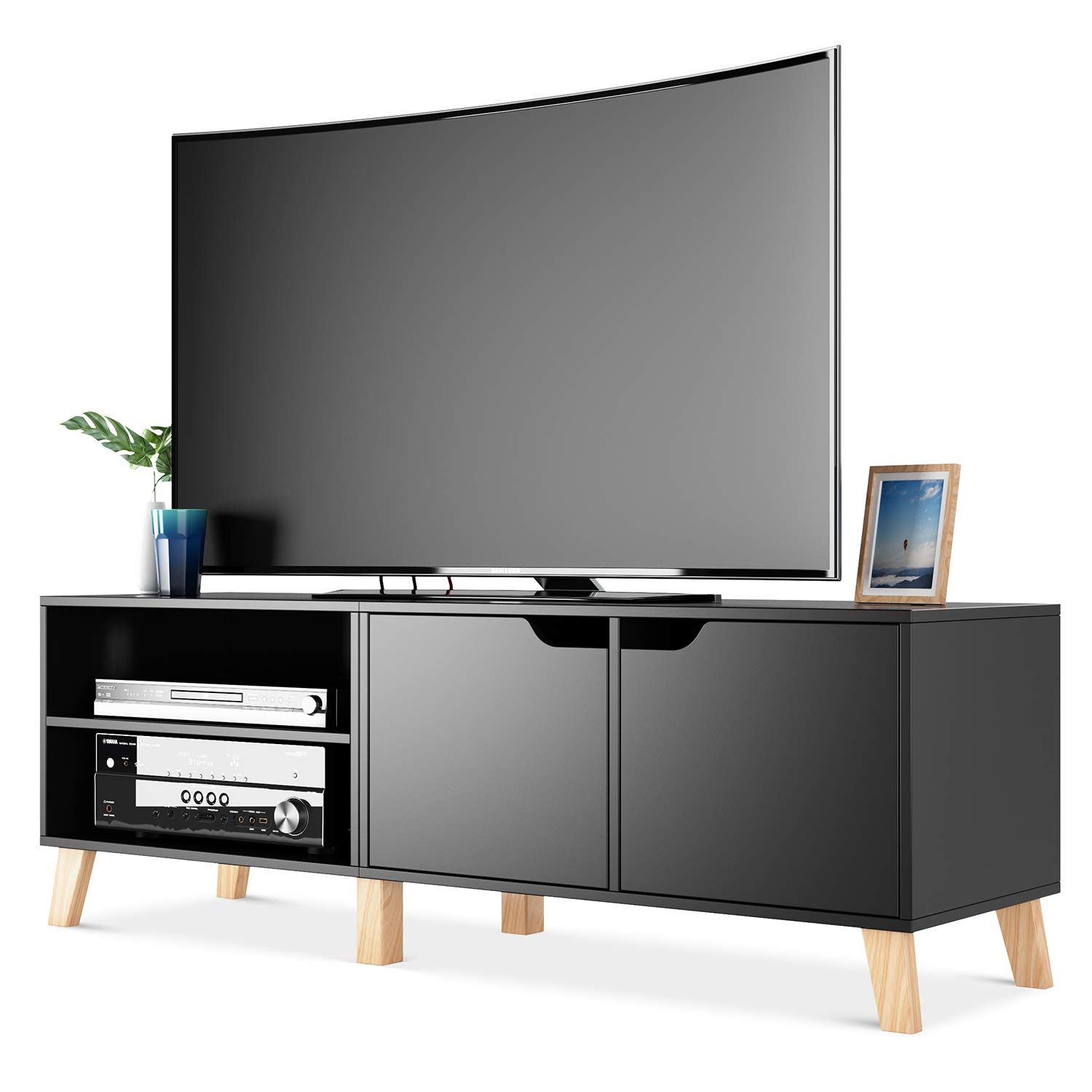 Black Entertainment Center For TVs Up To 55 Flat Screens Home Console Storage