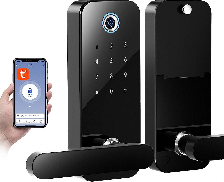 SmartCoolous Tuya Smart Lock,Fingerprint Door Lock 4-in-1 Unlock Touch Screen Bluetooth APP Keyless Entry Door Lock for Home Office Hotel Apartment Compatible with Alexa