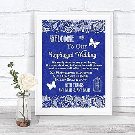 Amazon.com: Cartel de boda personalizable con encaje de ...