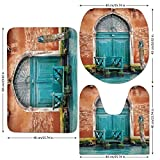 3 Piece Bathroom Mat Set,Venice,Ancient Building with Antique Door Entrance City on Water Historical Urban Decorative,Cinnamon Sky Blue,Bath Mat,Bathroom Carpet Rug,Non-Slip