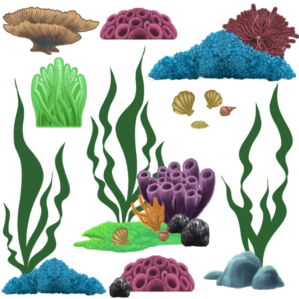 Create-A-Mural Coral & Seaweed, Ocean Wall Decals, Undersea Wall Decor Stickers for Kids Room ~ (34) Sea Wall Stickers by Create-A-Mural (Image #2)