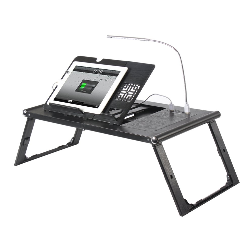 Etable Adjustable Lap Desk Laptop Bed Tray with Built-in 10000mAh Rechargeable Power Bank and LED Light - Folding Tablet Stand Reading Desk Black