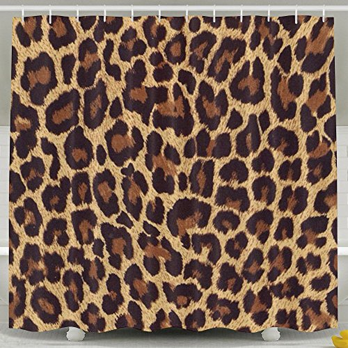 Cheetah Bathroom Accessories - BESTSC Bath Curtain Cool Cheetah Leopard Shower Curtains - Waterproof Polyester Fabric Bathroom Decor Set With Hooks - 72