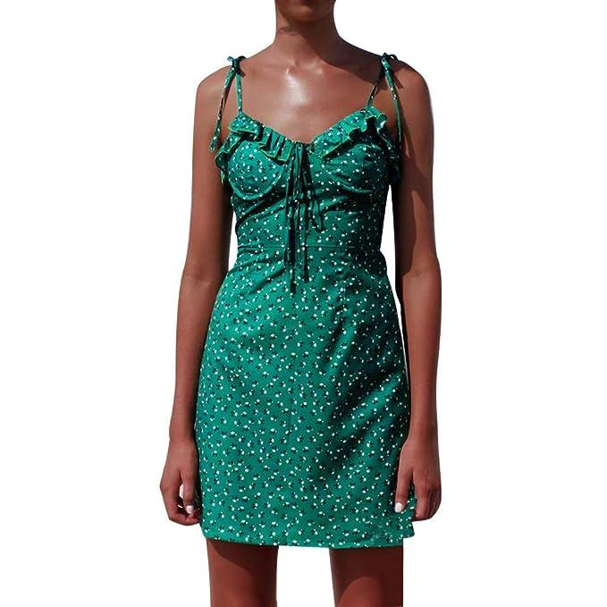 d1f152ea5c8c kemilove Fashion Women Lace Up Sleeveless Off Shoulder Ruch Floral Print  Strap Mini Dress Green
