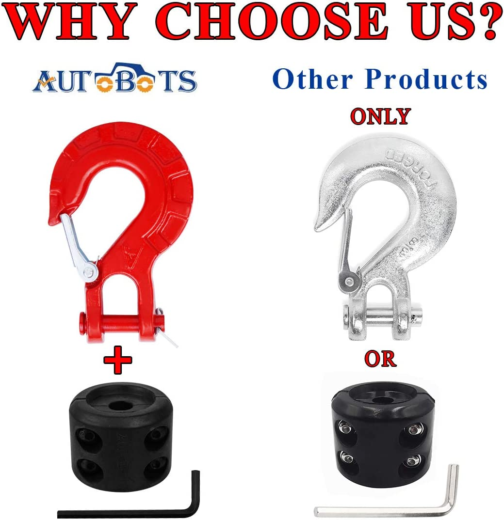 AUTOBOTS Forged Steel 3//8 Grade 70 Safety Latch Black Winch Cable Hook Stopper /& Clevis Slip Winch Hook Sets Max 35,000 lbs -Black/&Black New Edition