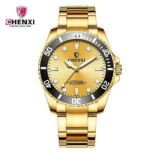 HWCOO Relojes 2018 amanecer reloj nuevo reloj de oro reloj de los hombres IP a prueba de agua 085A oro completo IPG Reloj de pulsera (Color : 2): Amazon.es: ...