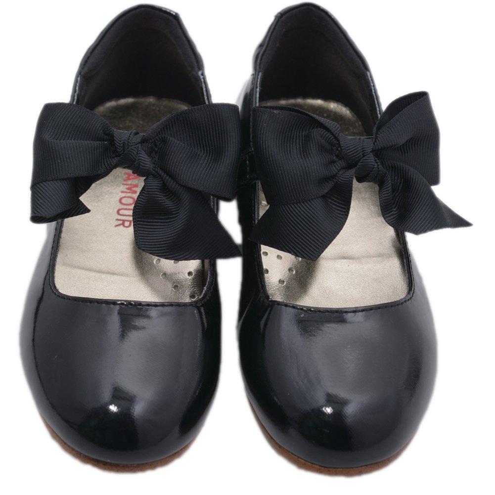 LAmour Little Big Girls Black Grosgrain Bow Flats Dress Shoes 11-4 Kids